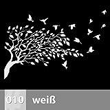 Baum mit Vögel Wandtattoo 170cm x 115cm, 010 weiß, XXL