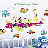 GOUZI Kinderzimmer Dekor Wand Selbstklebende Baby Cartoon Plane, 60 * 90 cm. Wall Sticker Abnehmbare Wall Sticker für Schlafzimmer Wohnzimmer Hintergrund Wand Bad Studie Friseur