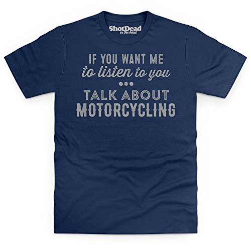 Talk About Motorcycling T-Shirt, Herren Dunkelblau