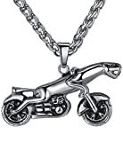 Aoiy Collar con colgante de hombre de acero inoxidable, leopardo motocicleta, cadena de 61cm, ccp013