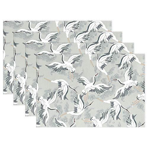 dige Platzdeckchen Fliegender Vogel rot gekranter Kran waschbar Polyester Tischmatten Rutschfest waschbar Platzsets für Küche Esszimmer 4 Stück ()