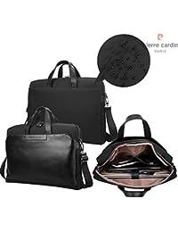 Pierre Cardin 17 pulgadas de negocios portátil bolsa de tela de nylon coreano y cuero genuino ordenador portátil y tableta bolsa (17 pulgadas, Negro)