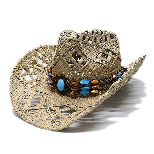 YEXIANG Sonnenhut Damen Herren Vintage Wide Brim Husk Sonnenstrand Cowboy Cowgirl Westerly Hat Vintage Türkis Braid Band (Farbe : 1, Größe : 56-58CM) (Damen-band-hats)