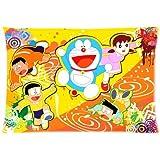 Retro Zippered Pillowcase For Living Room Japanese Anime Doraemon Decorative Pillow Slip Size 50x75cm