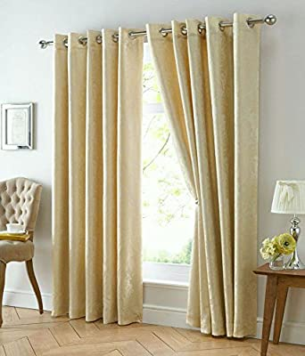 Eyelet Ring Top Lined Curtains Gold Jacquard Finish - Richmond