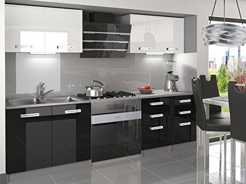 naka24 NEU Komplette Küche Infiniti I 160 cm Hochglanz Verschiedene Farbkombinationen (Weiss - Schwarz)