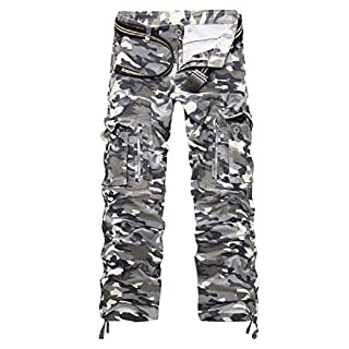 AYG Herren Cargo Hose Camouflage Trousers(gray camo,34)