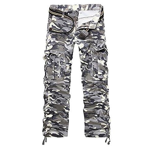 AYG Herren Cargo Hose Camouflage Trousers(gray camo,34)