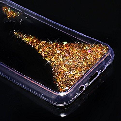 Custodia Samsung Galaxy J3 2017,Cover Samsung Galaxy J3 Pro,Custodia Cover per Samsung Galaxy J3 Pro/Galaxy J3 2017,KunyFond Glitter Cristallo Lucido Strass Diamante Glitter Trasparente Caso con Stras giallo Angelo