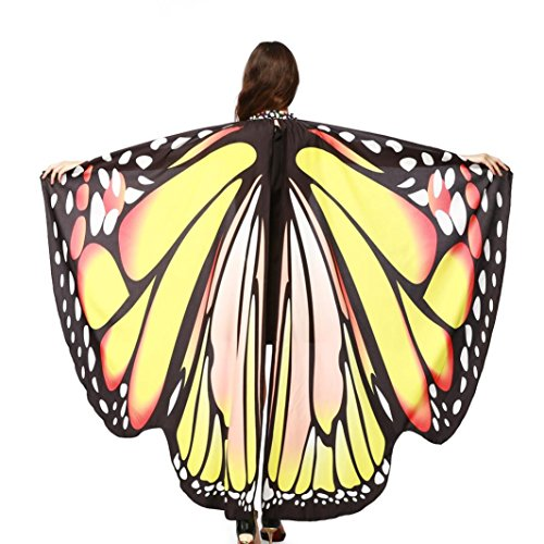 HKFV Frauen Schmetterling Wings Schal Schals Damen Nymph Pixie Poncho Kostüm Zubehör Mit Armband Flügel und Schalen Schal Pashmina (Gelb) (Stock Mann Halloween Kostüme)