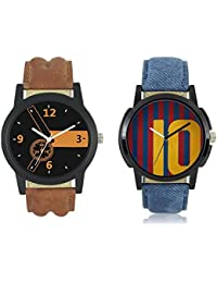 Teslo Stylist Brown & Blue Lather Strep Wrist Watch Party Wedding Formal Look Watch (Pack Of 2) Watch - For Men