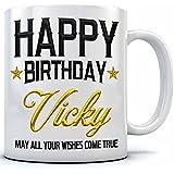 Happy Birthday Vicky Name Printed Ceramic Coffee Mug. 350 Ml.Birthday Gift,Vicky Name Coffee Mug