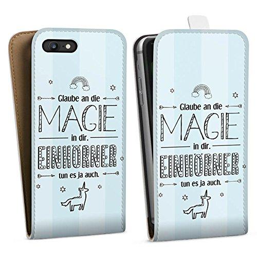 Apple iPhone X Silikon Hülle Case Schutzhülle Einhorn Magie Spruch Downflip Tasche weiß