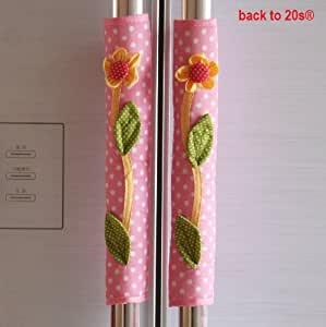 Backto20s Twin Pack Refrigerator Handle Covers (Flower Pink)
