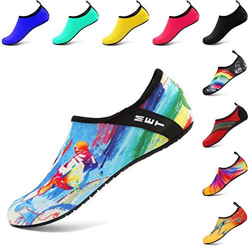 VIFUUR Wassersport Schuhe Barfuß Quick-Dry Aqua Yoga Socken Slip-on für Männer Frauen Kinder Surfen EU36/37
