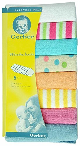 Baby Bucket Gerber Wash Cloths (VARIED MULITICOLOUR Pack of 8pcs)