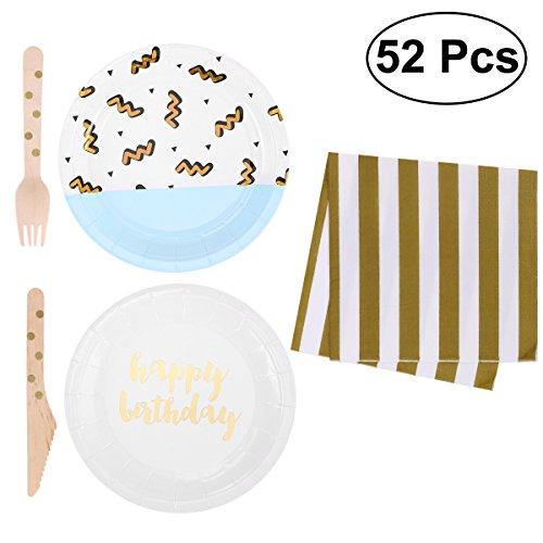 (BESTOYARD Einweg Party Papier Geschirr Set Hochzeit Geburtstag Party Supplies mit Servietten Gabeln Teller)