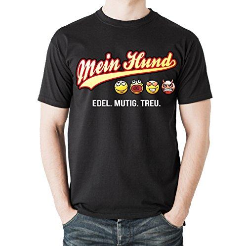 Siviwonder Unisex T-Shirt MEIN HUND - OLD SCHOOL SCHRIFT Hunde Schwarz