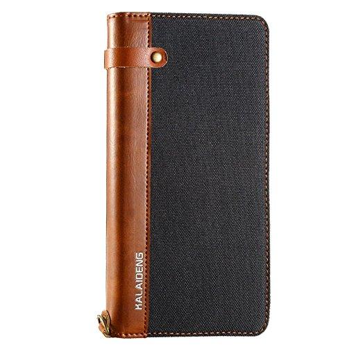 Phone case & Hülle Für iPhone 6 / 6s, Leinen Leder + TPU Horizontale Flip Leder Tasche mit Card Slots & Halter & Lanyard ( Color : Grey ) Black