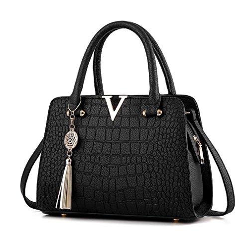 YULAND Handtasche Damen, Schultertaschen Für Damen Tasche Für Damen Rucksack Ledertasche Kleine Quaste Crossbodyn Leder Handtasche Alligator Muster Schultertasche (Schwarz)