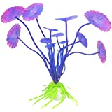 "Leegoal 10 Pcs Artificial Fish Tank Landscape Plastic Plant Aquarium Decoration 3.9"" Height, Purple"