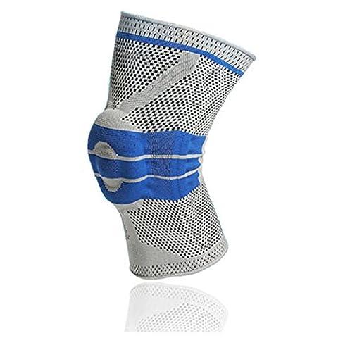 Silikon Anti-Kollisions Compression Kniebandage - WinCret Gestrickte Schützend Elastisch atmungsaktive Knieorthese - Bequeme und Fit für Laufen, Klettern, Reiten, Basketball und andere Outdoor-Aktivitäten