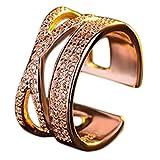 Dosige Damen Ringe Fingerring Schmuck Eheringe Verlobungs-ring Freundschaftsringe Partnerringe-Offene Verstellbare (Golden)