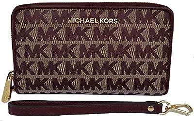 Michael Kors - Monedero Jet Set Travel Zip Around Rojo Beige Oxblood