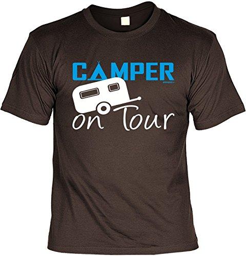 Wohnwagen - Shirt /T-Shirt/Baumwoll-Shirt witzige Sprüche: Camper on Tour - Geschenk für Camping-Freunde