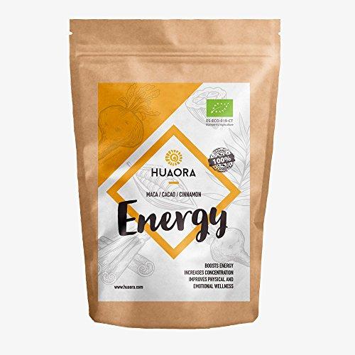 Huaora Energy - Maca, Zimt, Kakao   Biologische Landwirtschaft   Glutenfrei, Laktosefrei, ohne Soja   Für Veganer geeignet (Natürliches Soja-eiweiß)