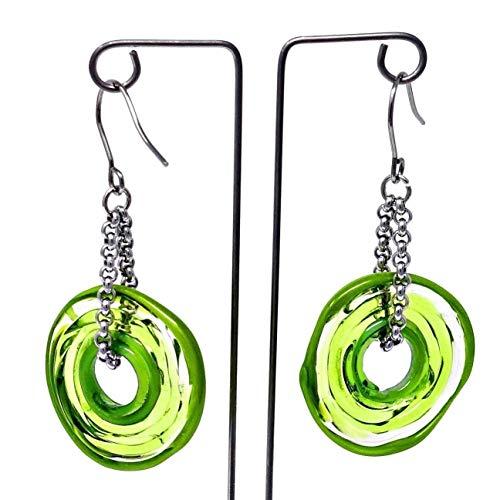Ohrringe in Grün aus Murano-Glas | Edelstahl | Glas-Schmuck | Unikat handmade | Personalisiertes Geschenk für sie zu Valentinstag Jahrestag Hochzeit Geburtstag Weihnachten Mama Dame | grün (Grüne Weihnachten Net Lichter)