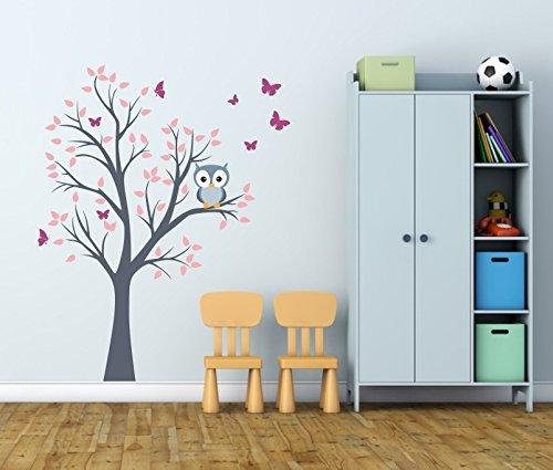 Wandtattoo kinder Babyzimmer Aufkleber Eule Eulen Wandsticker Wand Waldtiere Kinderzimmer Wandaufkleber Dekoration fürs Baby Kindergarten Baum Tiere
