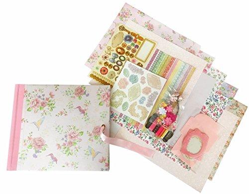 Whimsy Designs Scrapbooking-Set mit Spiralbindung, Perlglanzpapier, Aufkleber, Bändern, bedrucktem Papier, Rahmen und Mini-Umschlägen. Rose