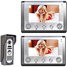 "MOUNTAINONE 7"" TFT LCD Video Portero Interfono Intercom,videoportero inalambrico Kit( 2 Monitor de 7"", 1 Cámara,Cámara de Vigilancia, Desbloqueo Remoto, Visión Nocturna)"
