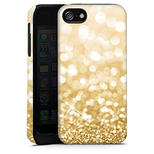Apple iPhone X Silikon Hülle Case Schutzhülle Glitzer Look Staub Gold Tough Case matt