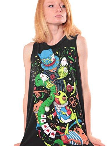 Top smanicato Alice in Wonderland Psychedelic - Top da donna aperto sulla schiena - Stampa originale abbigliamento abbigliamento urbano nero - Small
