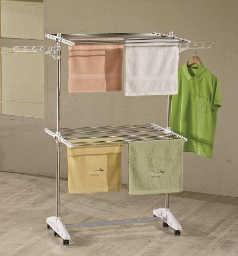 One Click Luxus Wäscheständer W1020 Wäscheständer, Edelstahl, E2 mit 2 Ebenen, 64 x 87 x 147 cm (Edelstahl Mit Zwei Ebenen)