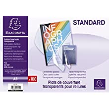 Exacompta PVC Transparent Covers for Presentation Binders, A3 - Clear, Pack of 100