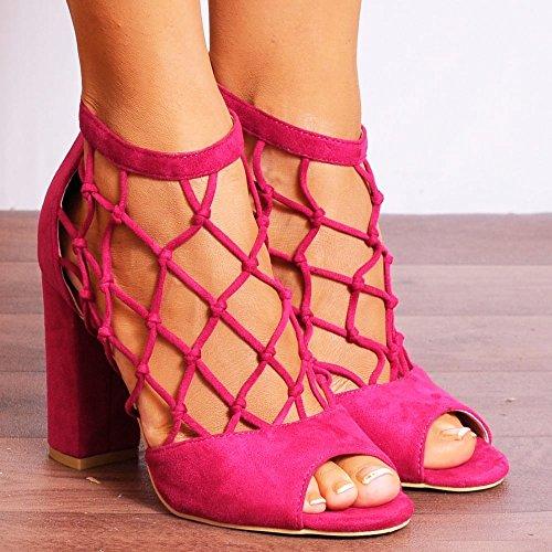 Rose Fuchsia Avec Cage Découpez Cheville Sandales Lanières Haut Peep Toes Chaussures à Talons Hauts Talons Bloc Rose Fuchsia