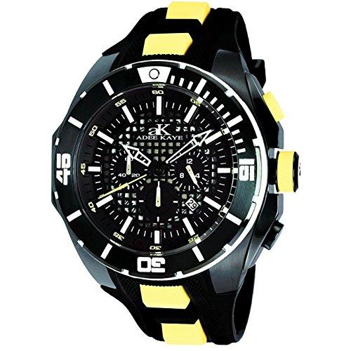 Adee Kaye Grid Men's Chronograph Multicolor Silicone Quartz Date Watch AK6367-YL