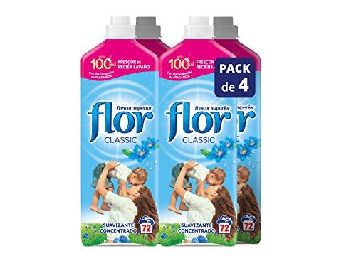 Flor Classic Azul Suavizante de Ropa Concentrado - 72 lavados [Pack de 4, Total 288 dosis]