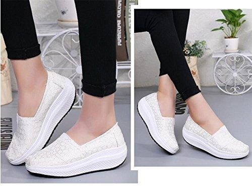 LDMB Frauen-Keil-Ferse-Segeltuch-Schüttel-Schuhe-weibliche beiläufige Sport-Schuh-Pedal-faule Schuhe Tuch-Schuhe 1720-1 white