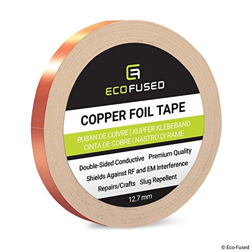 Premium selbstklebendes Kupferfolienband - Doppelseitig leitfähig - 0,5 Zoll (12,7 mm) - EMI- und HF-Abschirmung, Papierschaltungen, elektrische Reparaturen, Erdung, Home Interior, Schnecken abweisend