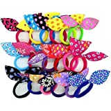 Leadwort Madam Collection Rabbit Ear Hair Tie Rubber Bands Style Ponytail Holder for Girl's (Multicolour) -18 Pieces