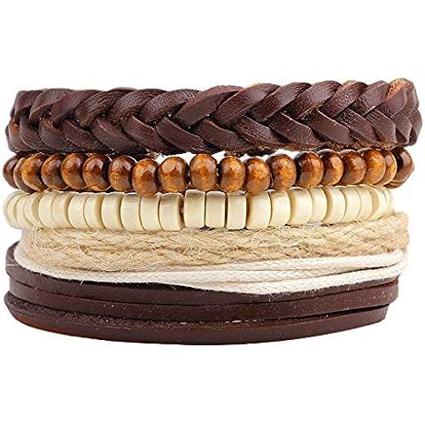 Invierno S Secret Religiosa Cinco combinaciones Piel, trenzado a mano Multi Strand marrón con cuentas Wrap