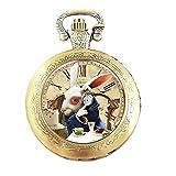 Reloj de bolsillo con mecanismo de cuarzo y cadena, diseño de Alicia en el País de las Maravillas, efecto de bronce antiguo, caja de regalo con pila de repuesto