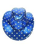 shoperama Blauer Cowboyhut mit weißen Sternen Herren Western Cowboy Hut Karneval Gr. 56-58