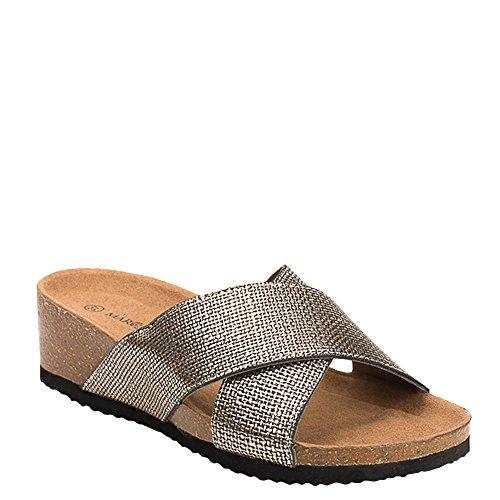 Ideal Shoes Mules Compensées Nacrées Effet Reptile Feliana Bronze
