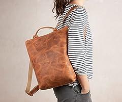 Reverse natural brauner Rucksack, sicherer Lederrucksack, Naturlederrucksack, brauner Lederrucksack, brauner Lederrucksack