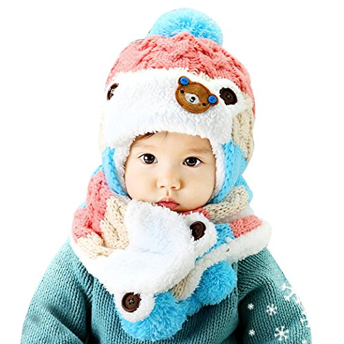 GillBerry Bebé linda calentar Dibujos animados Sombreros Bufanda Otoño Invierno (Rosado)